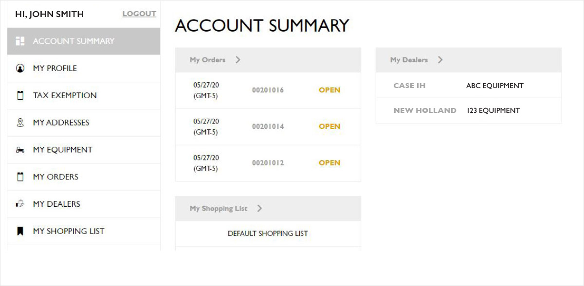 Account Summary page screenshot