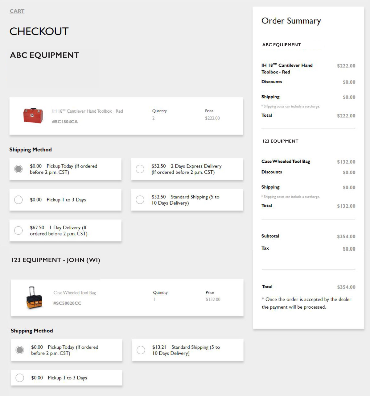 Multi-brand checkout screen example