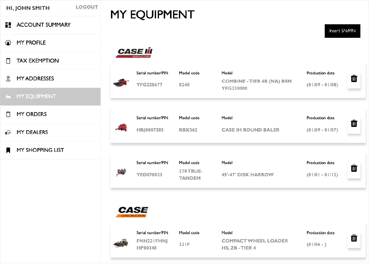 My Equipment page screenshot