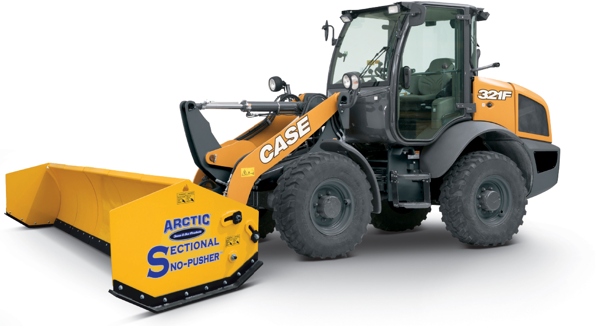 CASE Construction equipment with Sno‑Pusher attachment